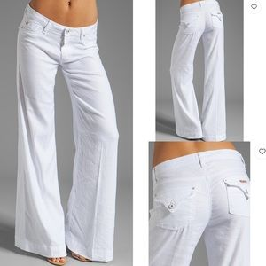 Hudson Gwen white wide leg pants jeans flap 29